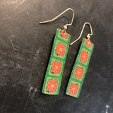 Poinsettia Long Rectangle Tin Earrings