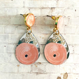 Pink Post Floral Tin Earrings