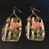Striped Pink Rose Tin Earrings with Beads
