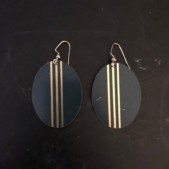 Green and Gold Striped Tin Earrings