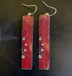 Chinese Artwork with Cherry Blossoms Tin Earrings