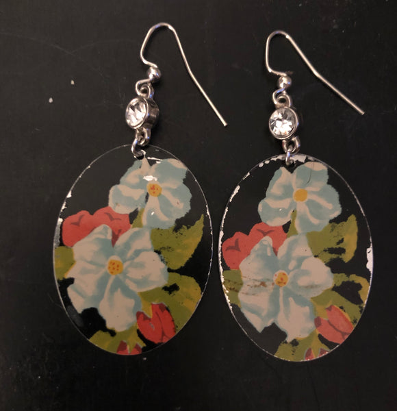 Light Blue and Red Floral on Black Tin Earrings with Bead