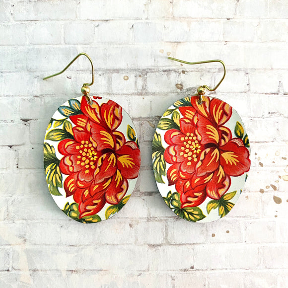 Coral Flowers Oval Tin Earrings