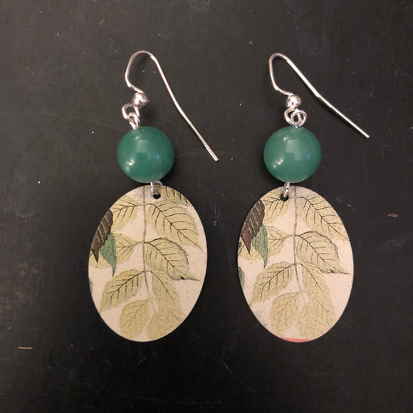 Green Leaves Tin Earrings with Beads