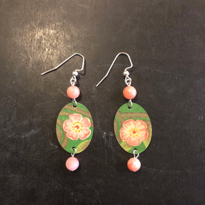 Double Beaded Green and Pink Floral Tin Earrings