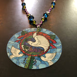 Dove Tin Necklace with Beaded Chain