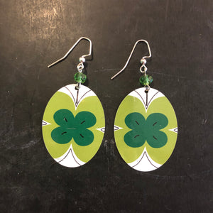 Green Oval Beaded Butterfly Tin Earrings