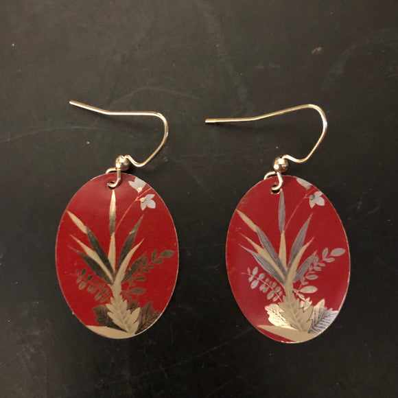 Gold Fauna on Red Oval Tin Earrings