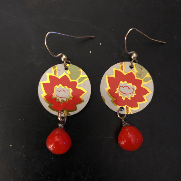 Red Flower Circle Tin Earrings with Beads