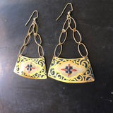 Pink Blue and Gold Navy Wedge Chandelier Tin Earrings