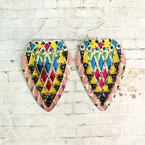 Stained Glass Style Tin Earrings