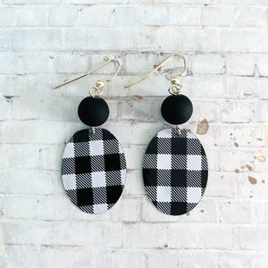 Black and White Buffalo Check Oval Tin Earrings with Bead