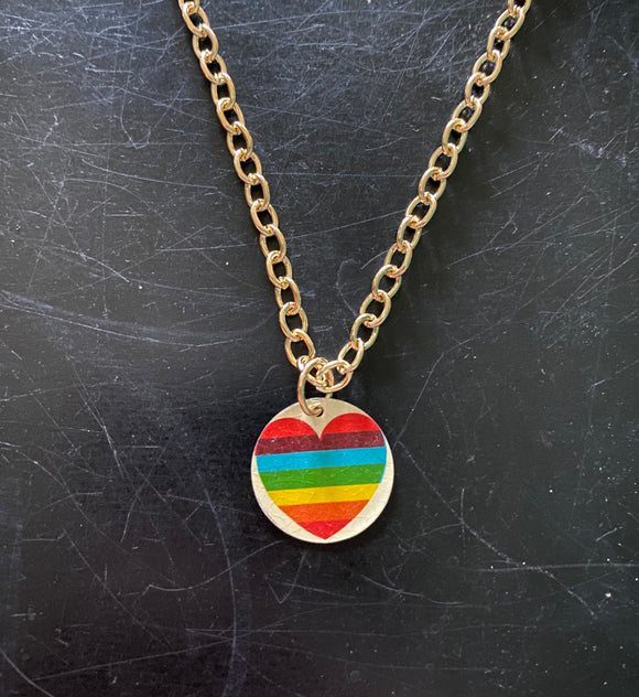 Rainbow Heart On Gold Tin Necklace