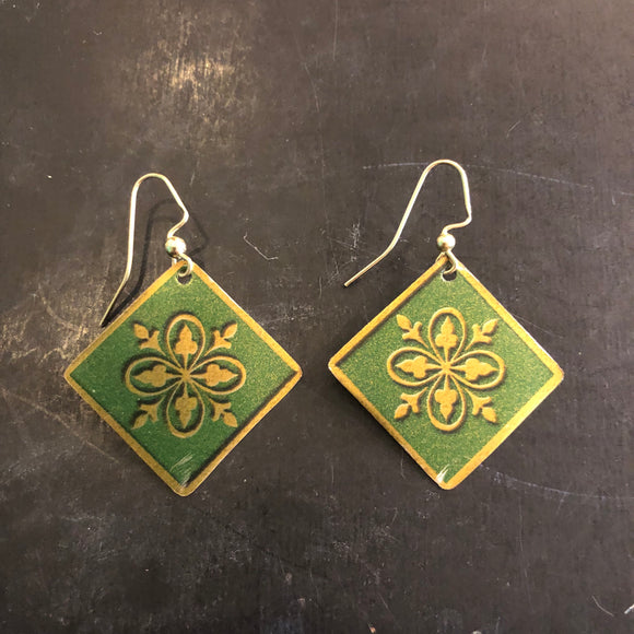 Green and Gold Floral Tin Earrings