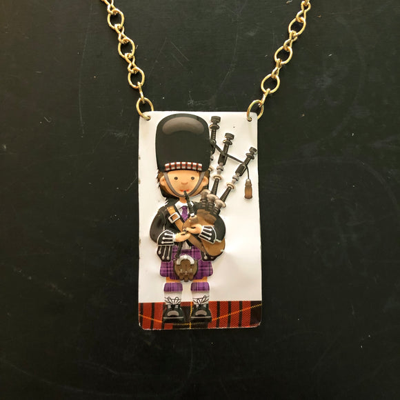 Purple Plaid BagPiper Tin Necklace