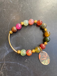 Multicolored Jasper Bead with Gold and Butterfly Tin Charm Bracelet
