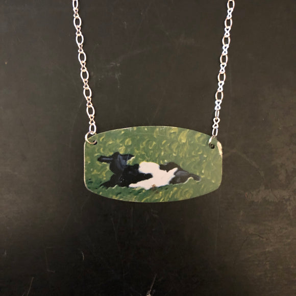 Cow in Pasture Tin Necklace