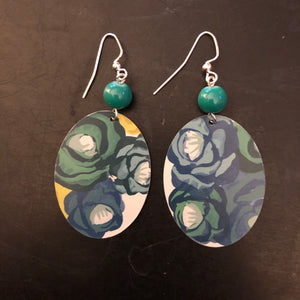 Blue and Green Floral Tin Earrings with Green Beads