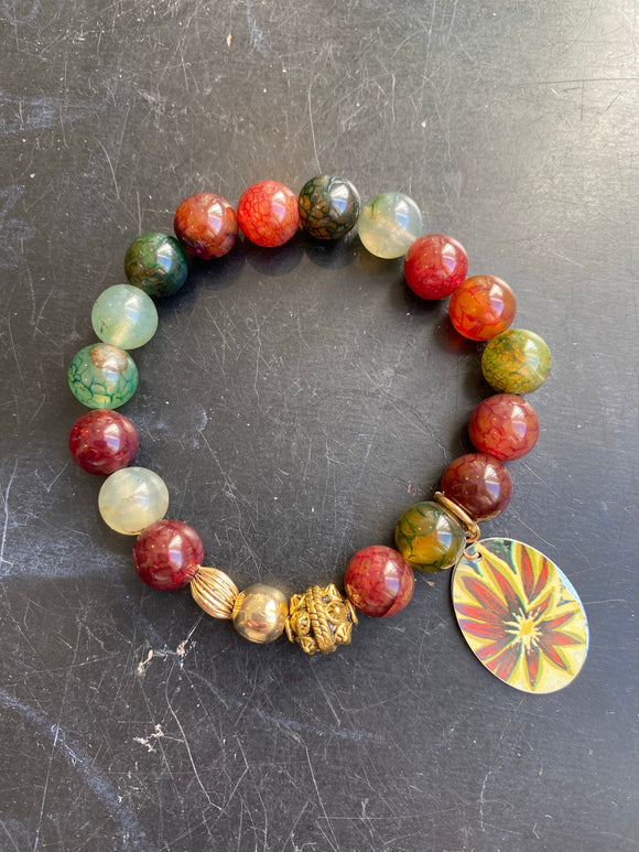 Multicolored Jasper Bead with Gold Tin Charm Bracelet