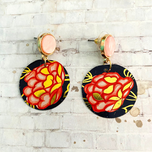 Pink and Coral Floral Post Tin Earrings