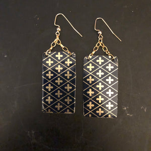 Black and Gold Crosses Tin Earrings