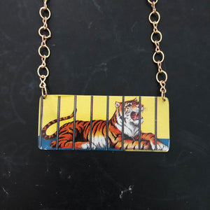 Tiger Animal Cracker Tin Necklace