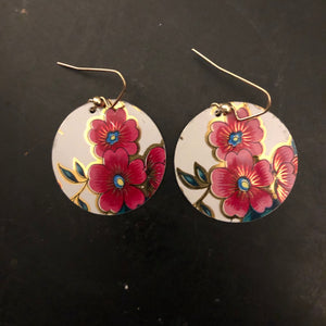Pink and Gold Floral Circle Tin Earrings