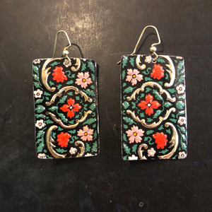 Black and Gold with Pink Floral Rectangle Tin Earrings