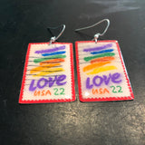 Love Stamp on Red Tin Earrings