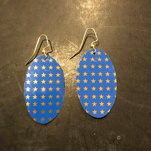 Royal Blue with Gold Stars Tin Earrings