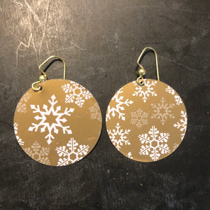 Circle Gold and White Snowflakes Tin Earrings
