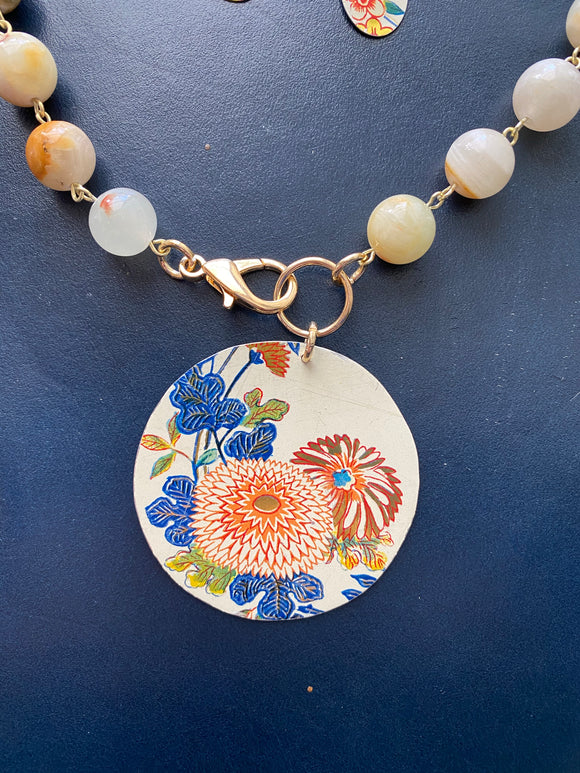 Asian Floral Tin Necklace with Front Clasp