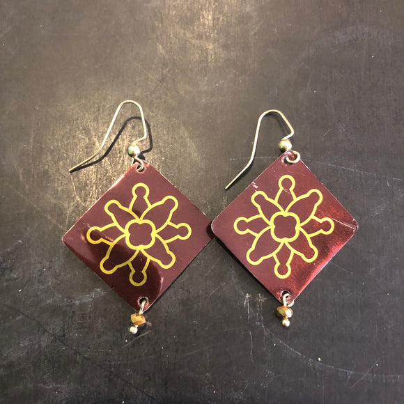 Brown and Gold Starburst Tin Earrings