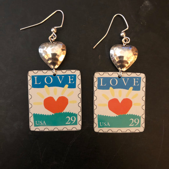 Love Horizon with Silver Hearts Tin Earrings
