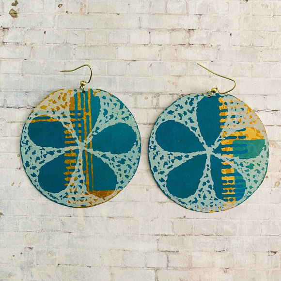 Sand Dollars on Teal and Gold Tin Earrings