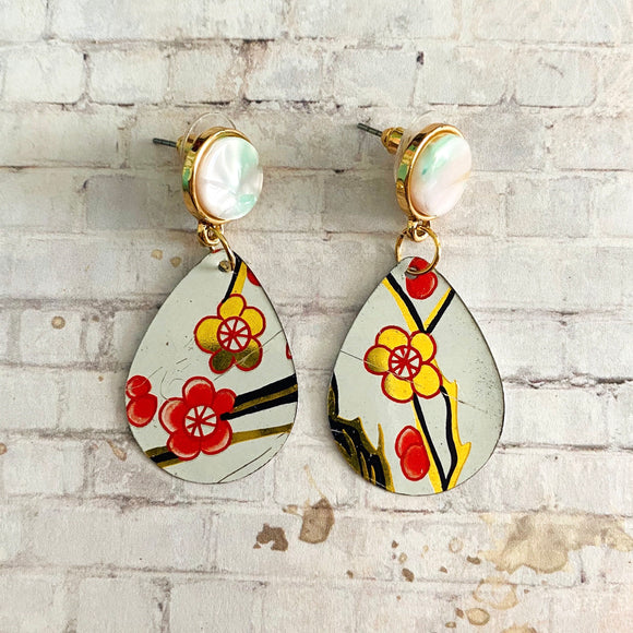 Coral and Gold Floral Tin Post Earrings