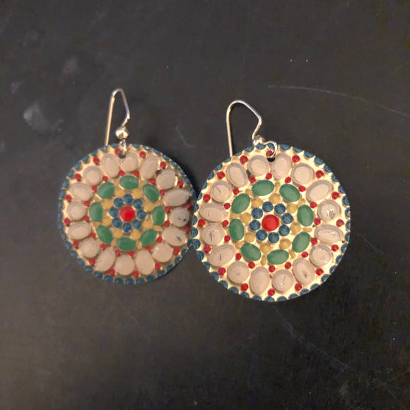Circle Mosaic Tin Earrings