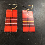 Red, Black and Yellow Plaid Rectangle Tin Earrings