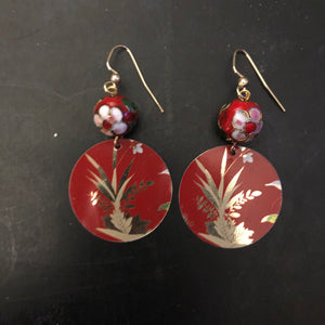 Red with Gold Floral Tin Earrings with Cloisonné Beads