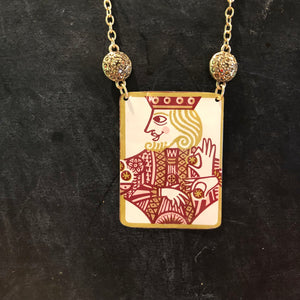 Square King Tin Necklace with Rhinestones