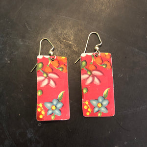 Rectangle Red Floral Tin Earrings