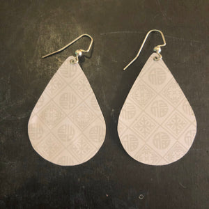 Small White Asian Teardrop Tin Earrings