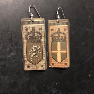 Coat of Arms Mismatched Tin Earrings