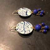 Blue and White Muted Floral Circles with Blue Beads Tin Earrings