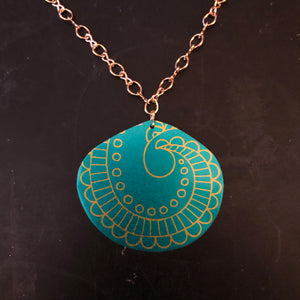 Turquoise and Gold Zen Tangle Style Teardrop Tin Necklace