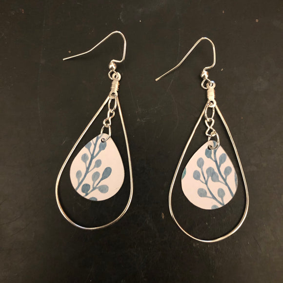 Aqua Floral Tin Earrings with Silver Hoops