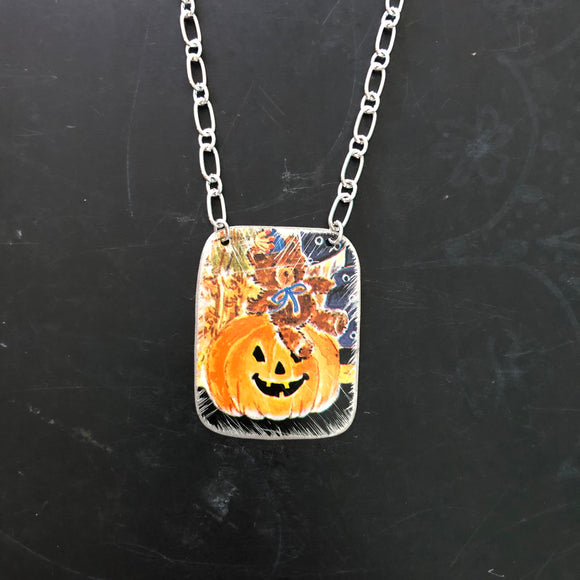 Teddy Bear Pumpkin Tin Necklace