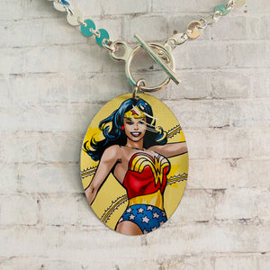 Wonder Woman with Scratches in Action Tin Necklace
