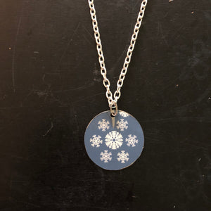 Blue and White Circle Tin Necklace