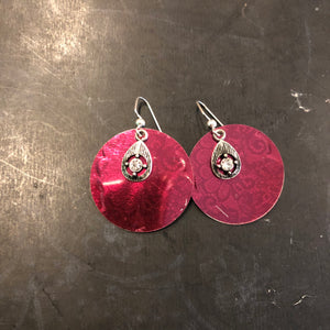Burgundy Circle Tin Earrings with Rhinestones